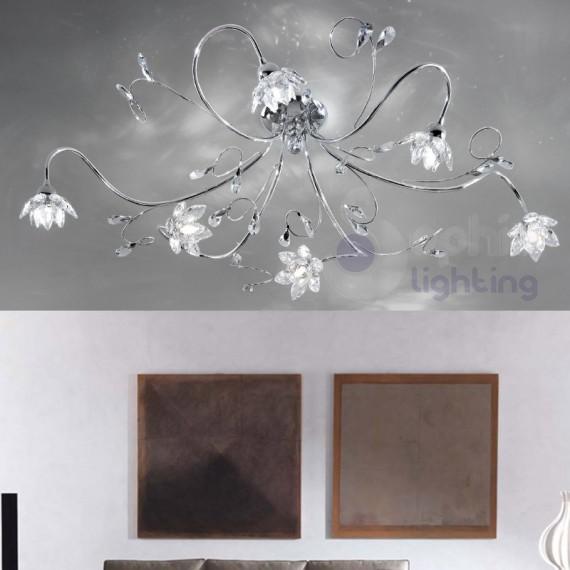 Plafoniera moderna bracci fiori cristallo acciaio cromato 6 luci - Plafoniera moderna soggiorno ...