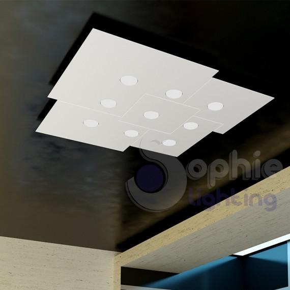 Plafoniera grande Led design moderno minimal acciaio bianco