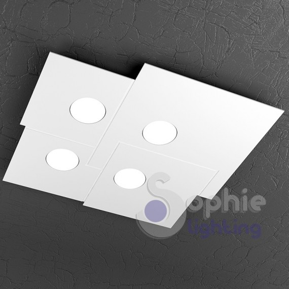 Plafoniera Led quadrata design moderno acciaio bianco bagno