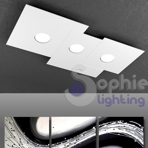Plafoniera soffitto 3 luci led 27w design bianco for Luci led a soffitto