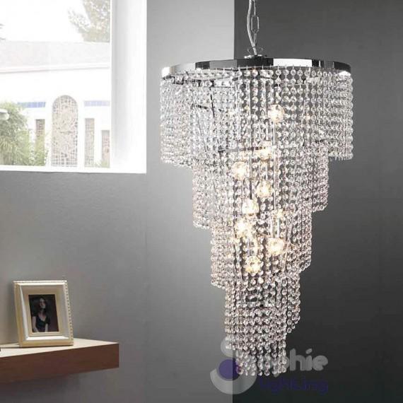 Lampadario cristalli pendenti cascata-SPIRALE-D50