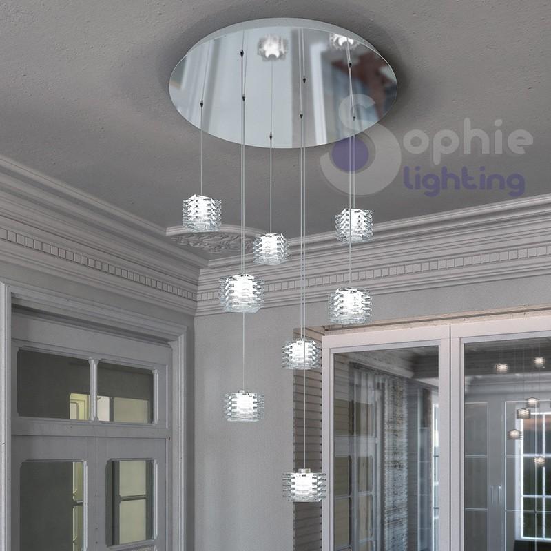 Plafoniera 60 cm 8 luci pendenti design moderno cristallo