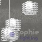 Lampadario 5 pendenti regolabili cristallo acciaio cromato sala pranzo