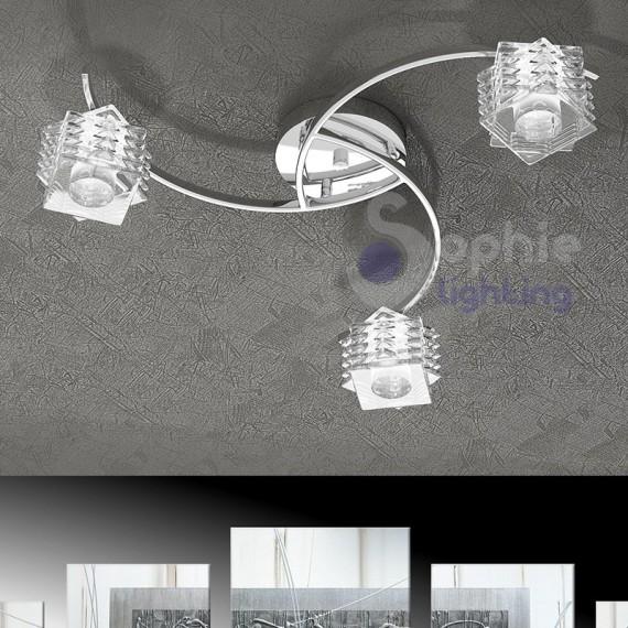 Plafoniera design moderno 3 luci bracci cubi cristallo cromata for Plafoniere moderne