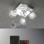 Plafoniera quadrata faretti cristallo orientabili design moderno cromata