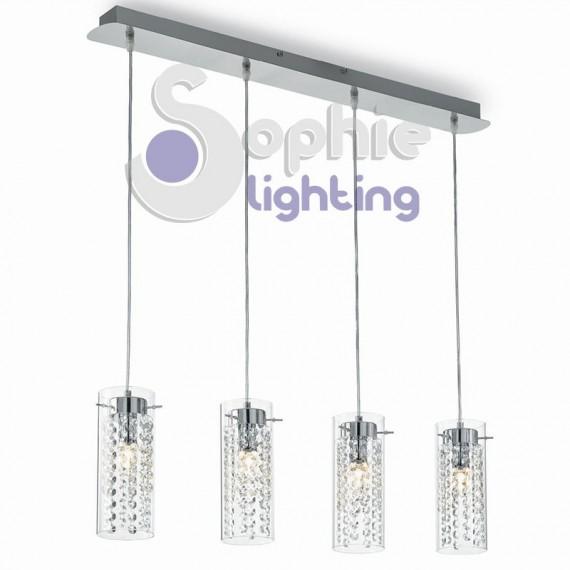 sospensione 4 luci pendenti vetro cilindro cristallo cucina