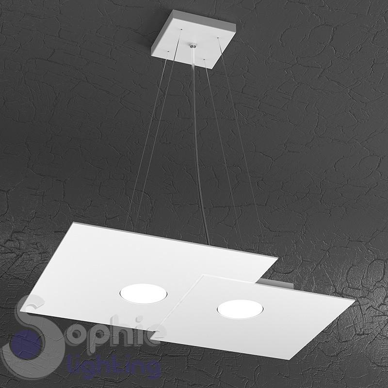Lampada sospensione LED ultra moderna minimal acciaio bianco