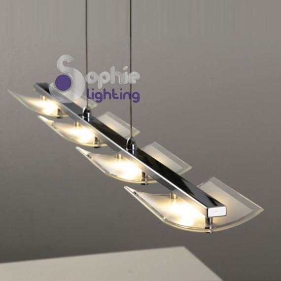 Lampadario lungo 90 cm 4 luci LED vetri arcuati cromato cucina tavolo