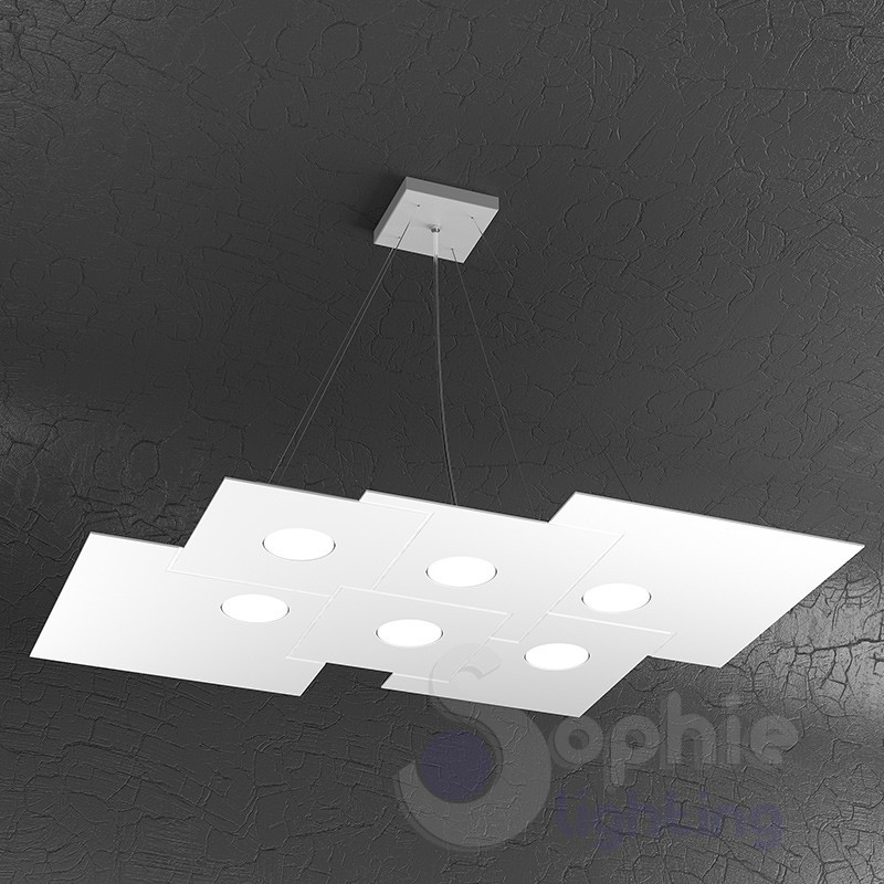Lampadario sospensione LED acciaio bianco design moderno studio ufficio