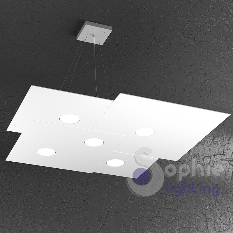 Lampadario LED sospensione regolabile pannello design moderno cucina ufficio
