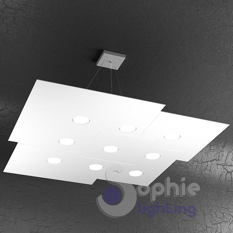 Lampadario LED sospensione pannello 91 cm design moderno sala da pranzo ufficio