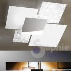 Lampadario soffitto design minimal grande 91x86 vetri 4 bianchi foglia argento