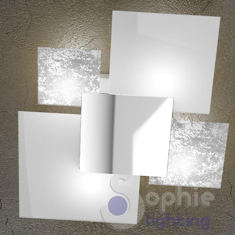 Plafoniera moderna soffitto vetro satinato decorato bianco for Plafoniera soggiorno