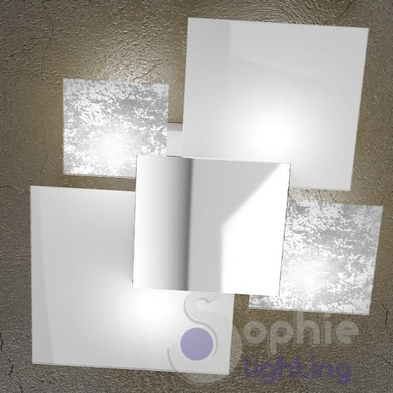 Lampada plafoniera soffitto design moderno elegante 4 vetri bianco - Plafoniera moderna soggiorno ...