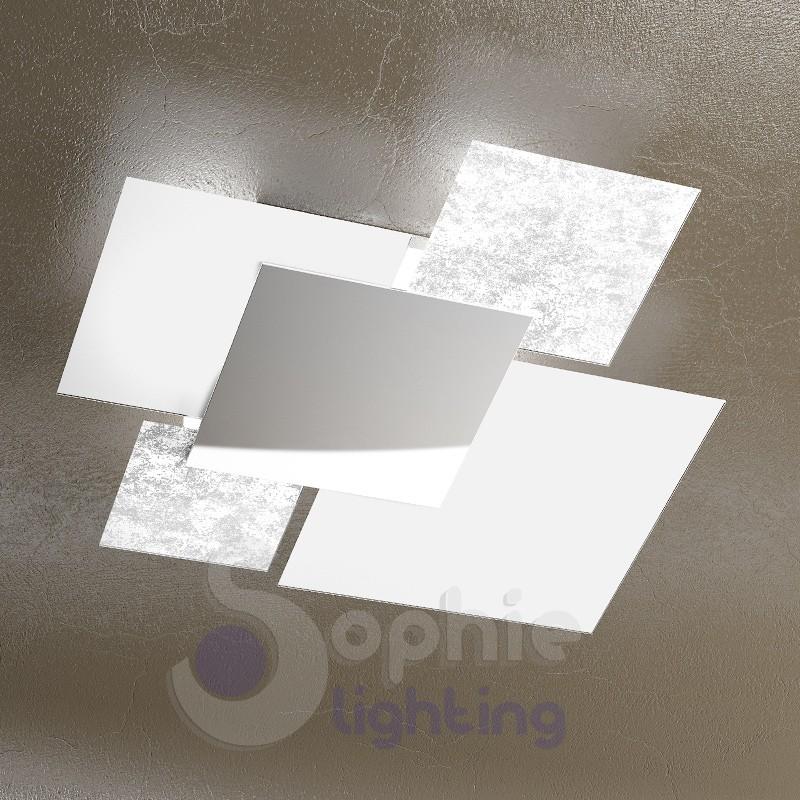 Lampada soffitto design moderno 4 vetri bianco foglia argento ingre.