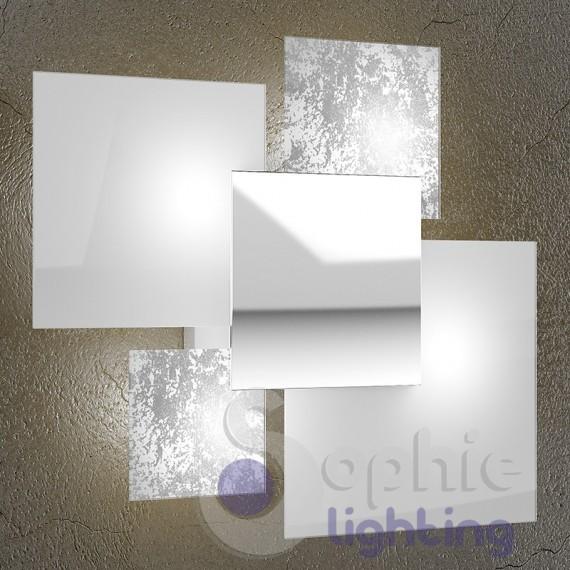 Lampada soffitto design moderno 4 vetri bianco foglia argento ingre for Lampada bagno soffitto