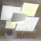 Lampadario plafoniera grande 91 cm design moderno 4 vetri foglia argento bianco salone
