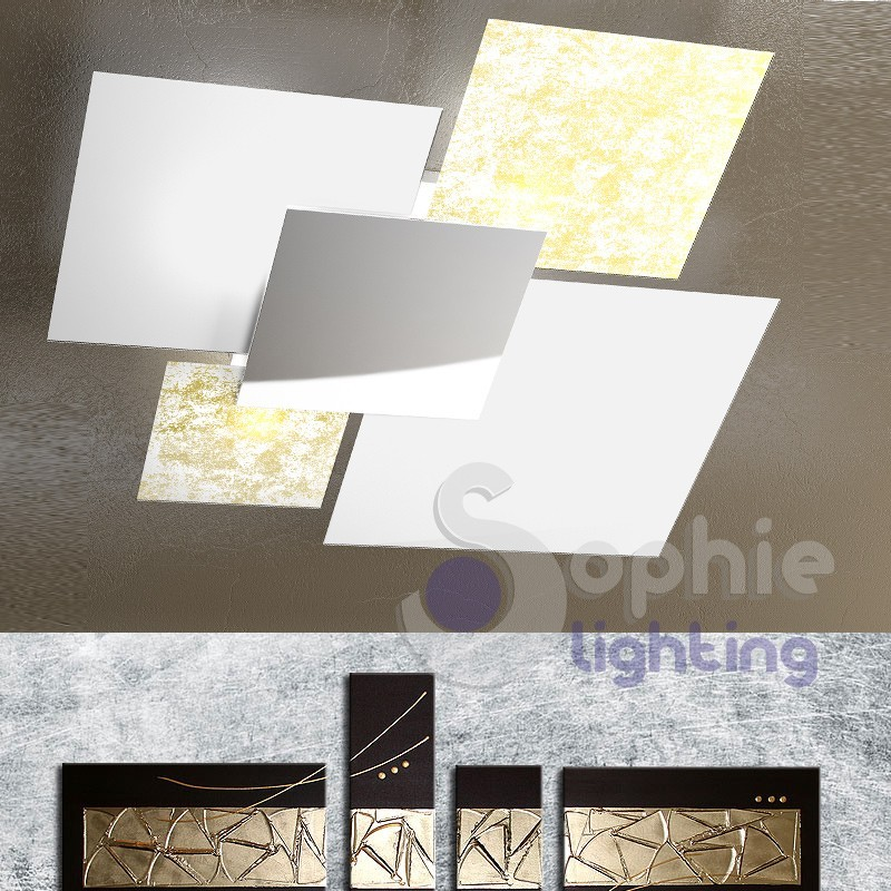 Lampadario plafoniera grande 91 cm design moderno 4 vetri foglia oro bianco salone