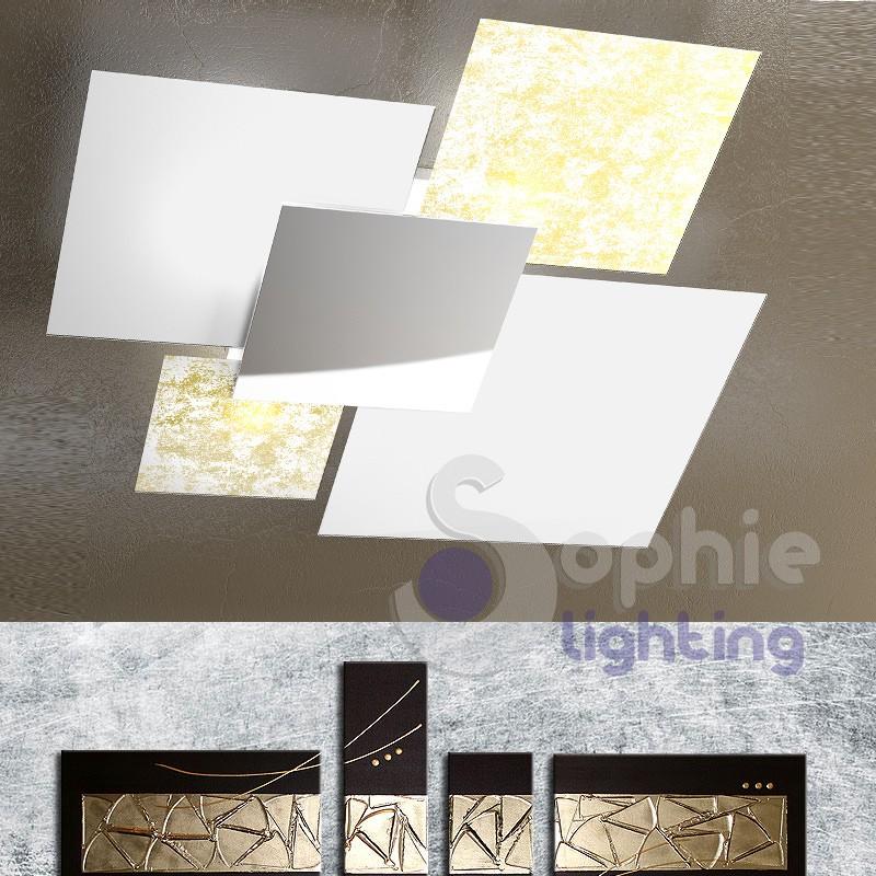 Lampadario plafoniera grande 91 cm design moderno 4 vetri foglia or...