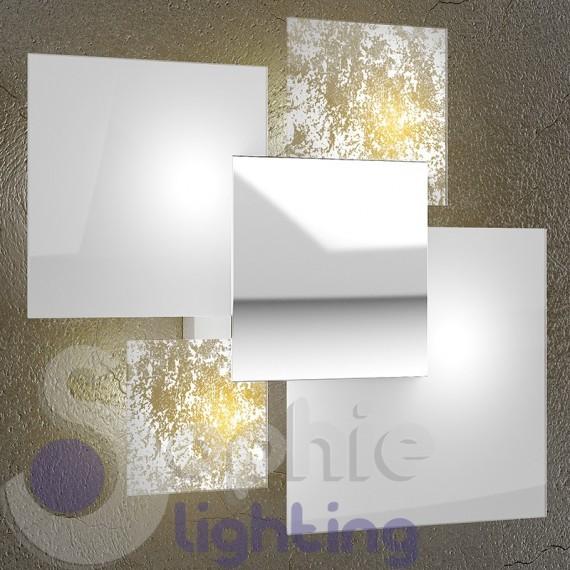 Lampada grande muro design moderno minimal 4 vetri foglia oro bianc...