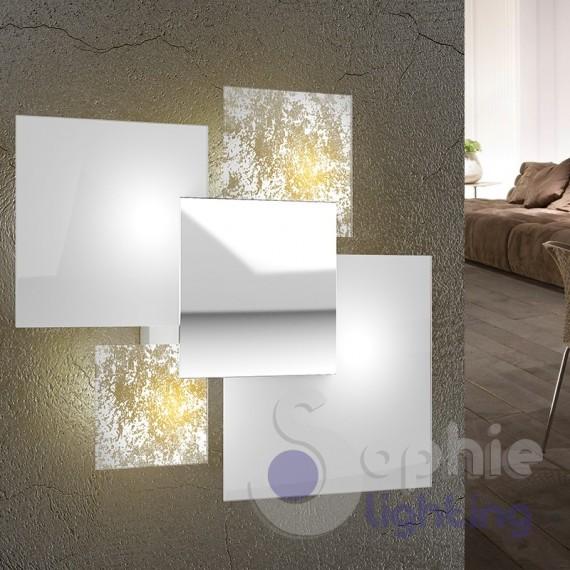 Lampada grande muro design moderno minimal 4 vetri foglia oro bianco cromo
