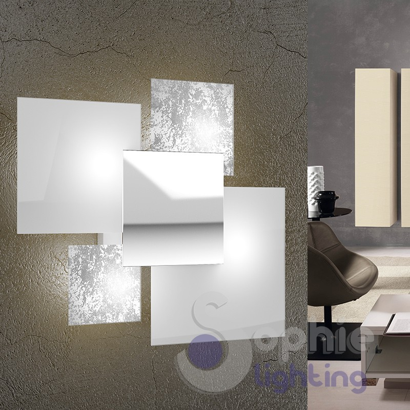 Applique grande muro design moderno foglia argento bianco for Interni design moderno