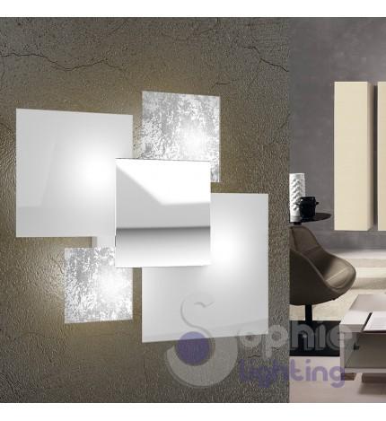 Applique grande muro design moderno foglia argento bianco cromo sog...