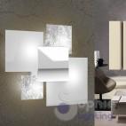 Applique grande muro design moderno foglia argento bianco cromo soggiorno
