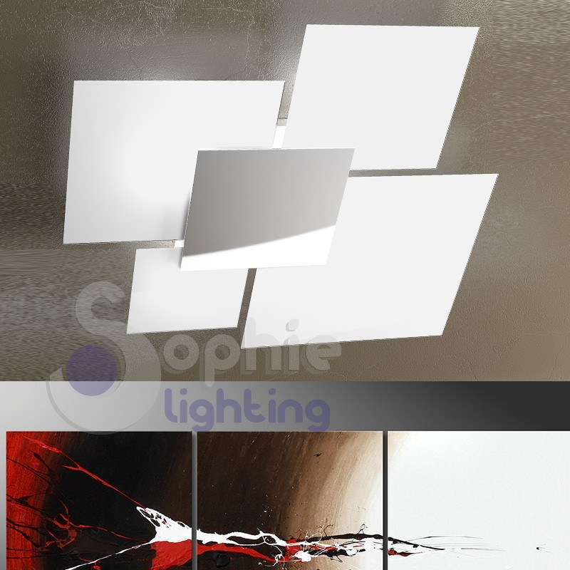 Plafoniera grande 4 vetri quadrati bianchi cromo moderna design