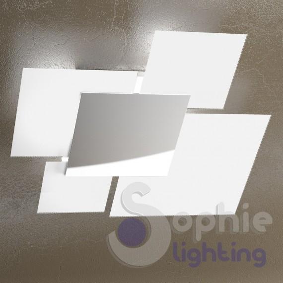 Lampadario grande soffitto moderno minimal 4 vetri quadrati cromato ...