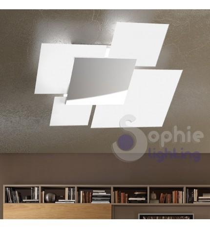 Lampadario grande soffitto moderno minimal 4 vetri quadrati cromato...