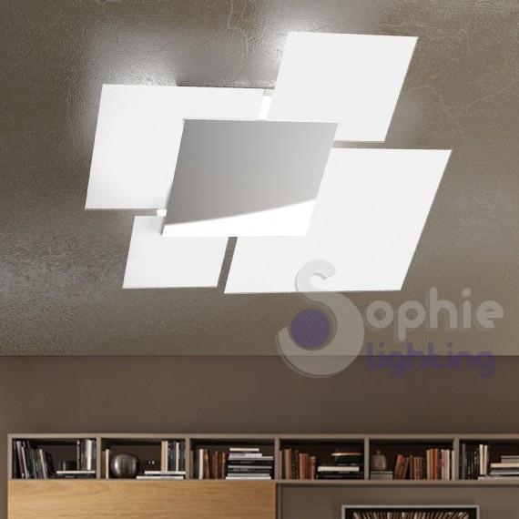 Lampadario grande soffitto moderno minimal 4 vetri quadrati cromato bianco