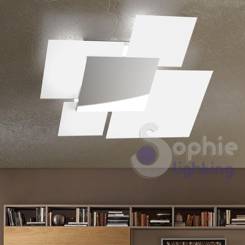 Lampadario grande soffitto moderno minimal 4 vetri quadrati cromato.