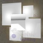 Plafone lampada soffitto design moderno cromo bianco vetri quadrati ingresso bagno