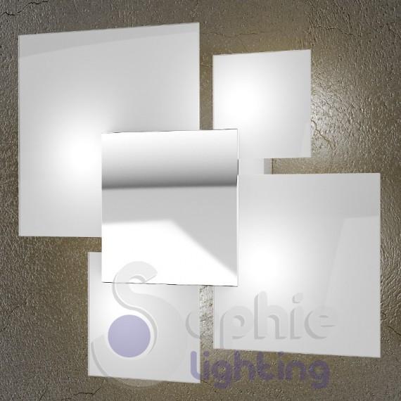 Plafone lampada soffitto design moderno cromo bianco vetri quadrati - Lampada bagno soffitto ...