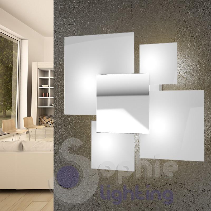 Lampada parete grande 46x42 cm 4 vetri bianchi acciaio cromo design moderno