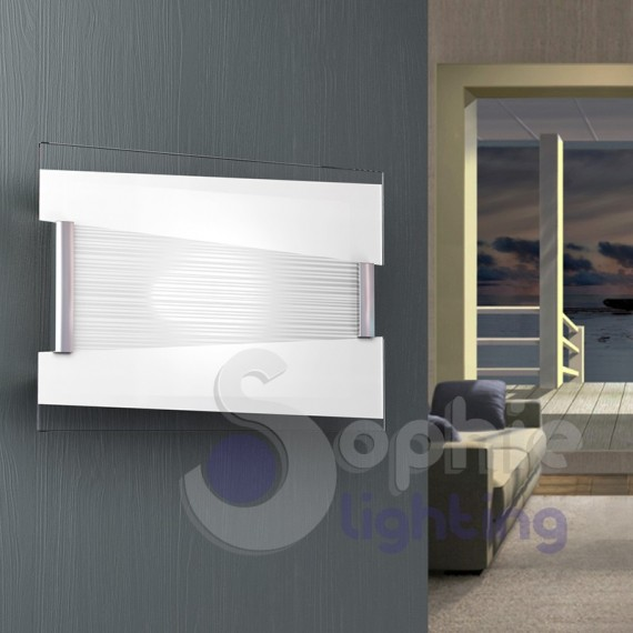 Lampada parete vetro bianco decoro righe moderna vano scala