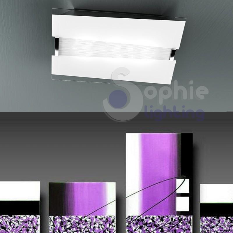Plafoniera soffitto vetro bianco decoro righe moderna bagno