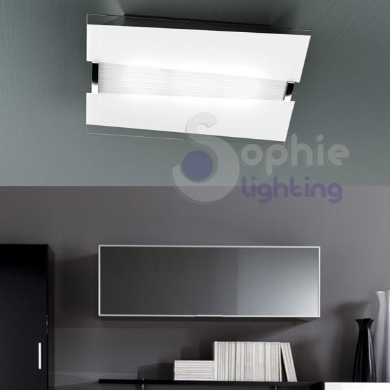 Lampada soffitto vetro bianco satinato decorato design moderno cucina
