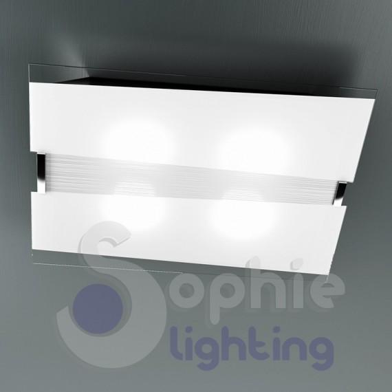 Plafoniera grande 70 cm vetro bianco decoro righe design moderno so...