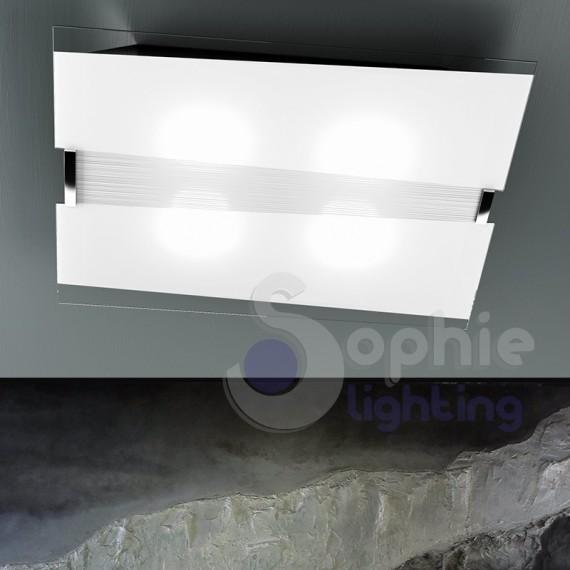 Plafoniera grande 70 cm vetro bianco decoro righe design moderno soggiorno