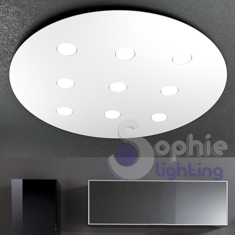 Plafoniera grande pannello LED diametro 90 cm design moderno acciaio bianco