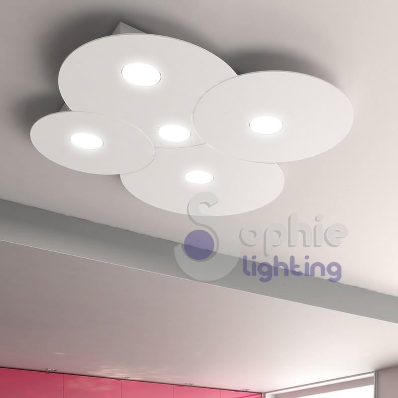 Lampadario soffitto LED 40W luce scelta design minimal moderno acciaio bianco