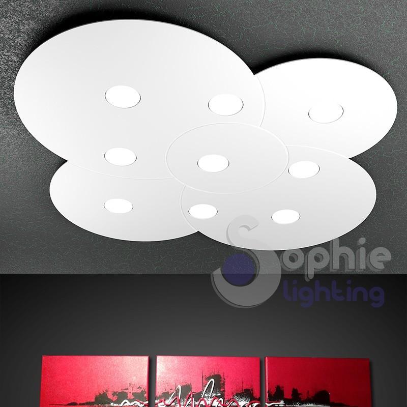 Lampadario plafoniera LED 81W pannello rotondo grande 90 cm design moderno minimalista