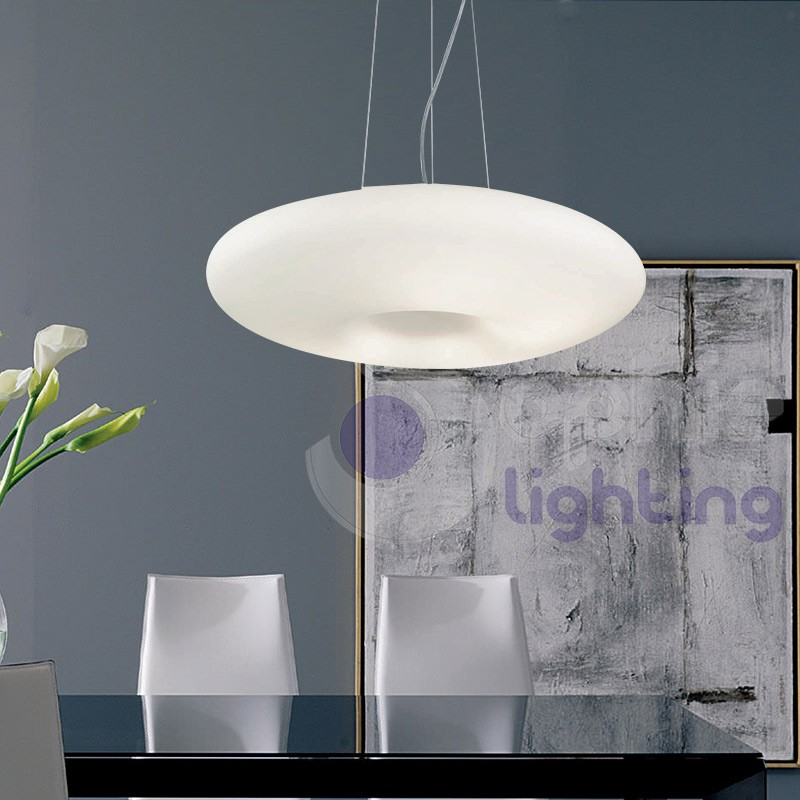 lampada sospensione cucina vetro bianco-disco-d50 - Lampadario Sospensione Cucina