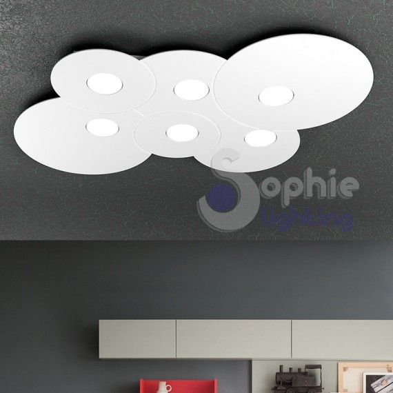 Plafoniera lampadario soffitto LED acciaio bianco design moderno cu...