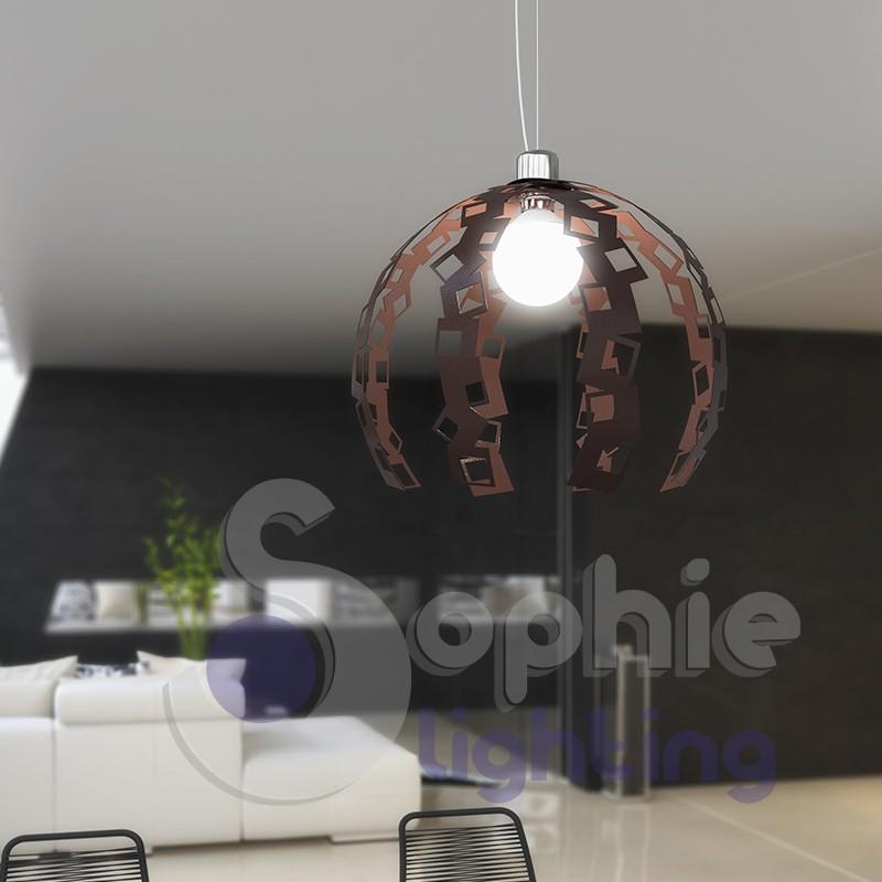 Lampadario lampada sospensione design moderno corten cromo cucina t...