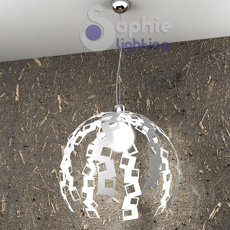 Lampadario sospensione regolabile acciaio bianco decorato cucina tavolo penisola