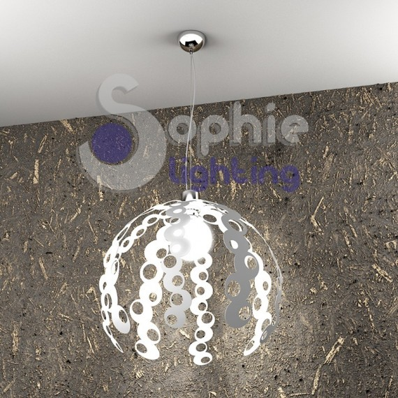 Sospensione regolabile lampadario cucina tavolo acciaio cromato bianco decorato