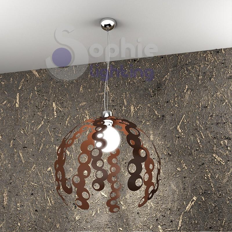 Lampadario lampada sospensione design moderno corten cromo decoro cerchi cucina